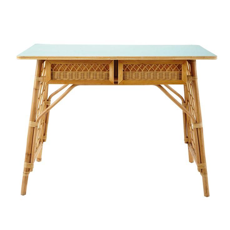 MDM - Schreibtisch im Vintage-Stil aus Rattan, B 103cm Florida