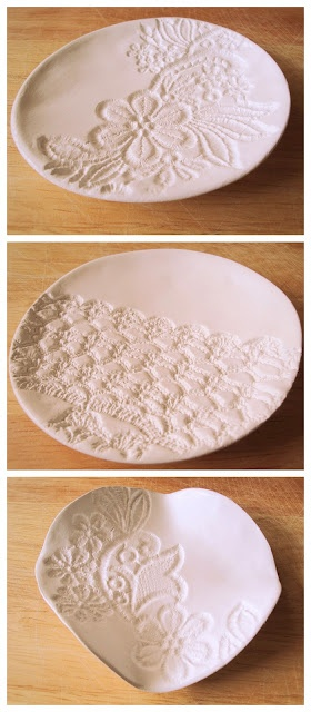 DIY Lace Bowl... All need is air-dryable modelling clay that is similar to china clay. Simply roll clay with rolling pin to abt 3-4 mm thick. Then take some laces or doilies & push pattern onto clay with rolling pin. It's so easy & turns into a wonderful result. All you do then is make the bowl round by put into another bowl to get that shape (look at photos).    After 2 days drying they are ready for sandpaper & acrylic paint. I love how they turned out and am definitely going to do it…