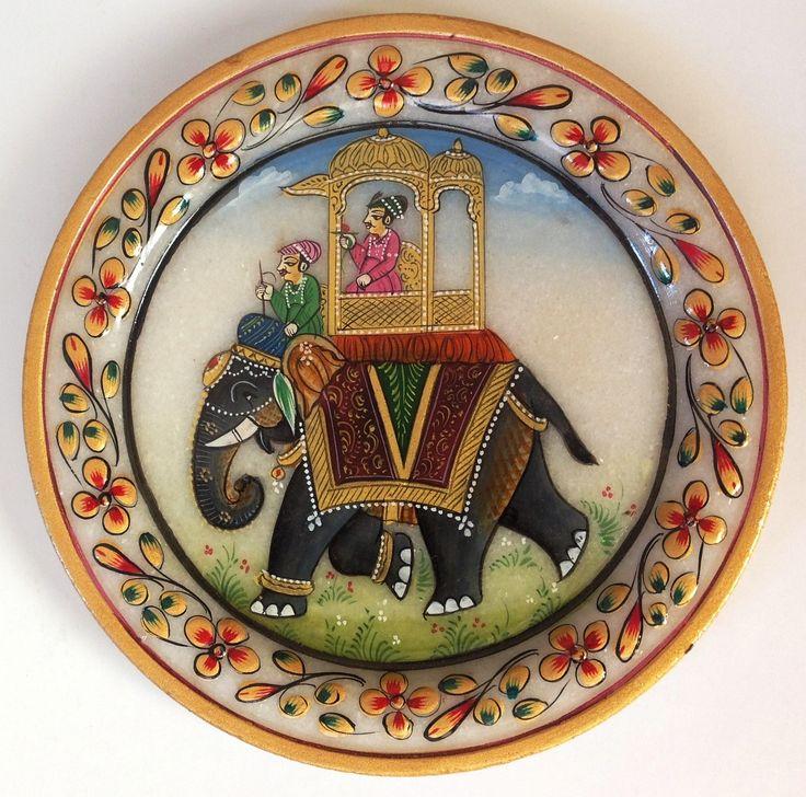 Indian Maharaja 5″ Marble Plate Art Handmade Floral Elephant Home Decor Painting