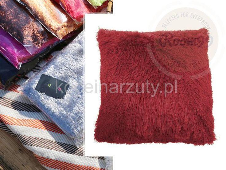 Poszewki włochate na poduszki bordowe
