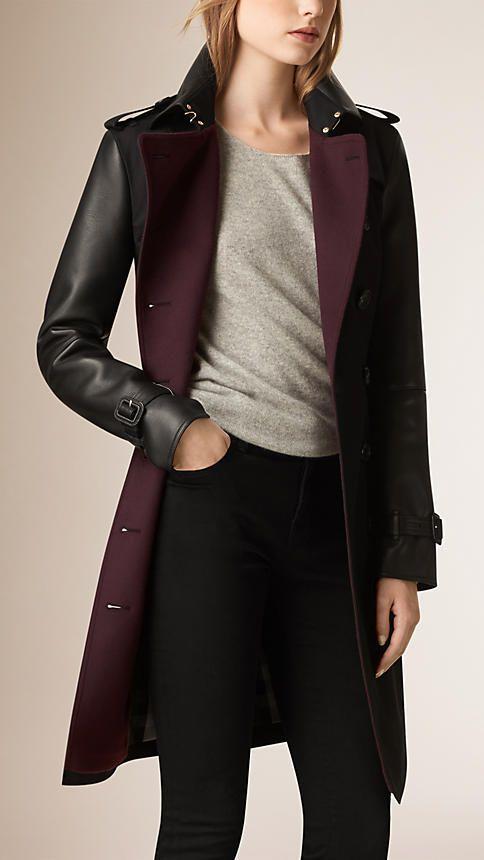 BURBERRY - Noir Trench-coat en gabardine de coton avec éléments en cuir    ¶¶ #toutoblog.unblog.fr aime ☺