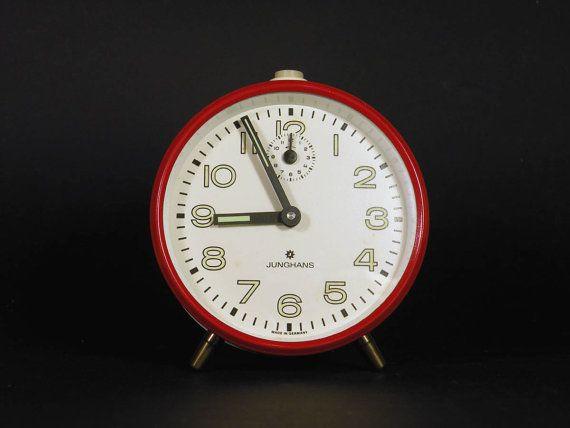 Vintage German red alarm clock red alarm clock by LaBonneVie72