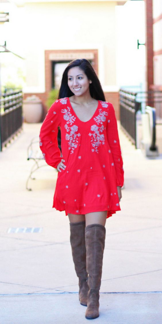 Reusing dresses that you already own to wear into Fall is easier and cheaper than you think! Just combine it with a pair of OTK boots and off you go!   Free people dress, embroidery, embroidered dress, OTK boots, Over the knee boots, Vince Camuto, Free People, Hillside Village, Dallas, Dallas Blogger, Petite Blogger, Petite Fashion, Fashion Blogger, Fall Inspo, Fall outfit, Fall Fashion, Irresistibly Petite, Latina Blogger.