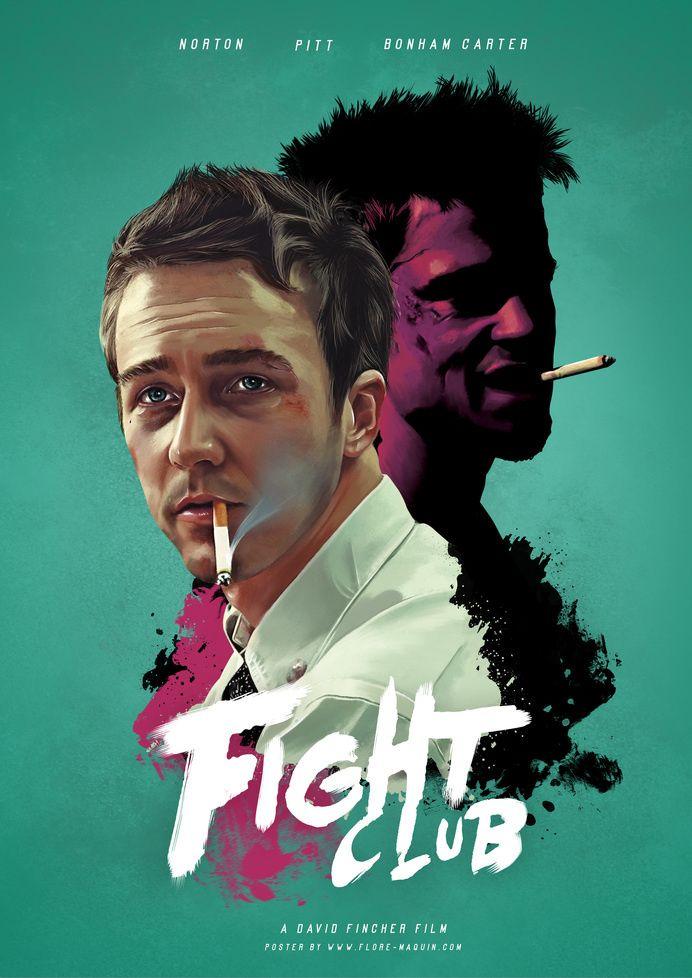 Club de la lucha, película, cine, fan art, diseño de personajes, cartel en fresco