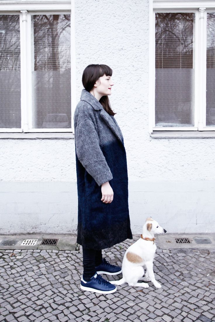 Outfitpost with a baby dog: Asos Dip Dye Coat worn by Hanna from WEMAKETHECAKE