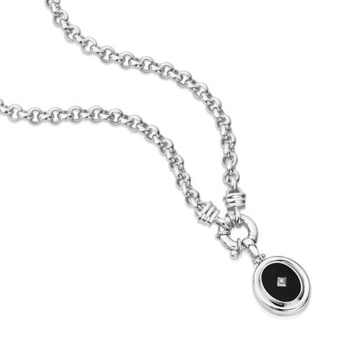 Sterling Silver Onyx and CZ Enhancer