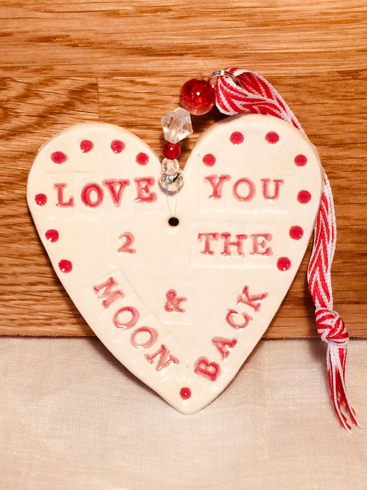 Excited to share the latest addition to my #etsy shop: Love you to the Moon & Back Pottery Heart, Girlfriend, Boyfriend, Bride, Groom, Family, Valentine, Anniversary, Celebration, Sussex pottery. http://etsy.me/2iImFUQ #housewares #homedecor #white #ceramicspottery #red #iloveyou