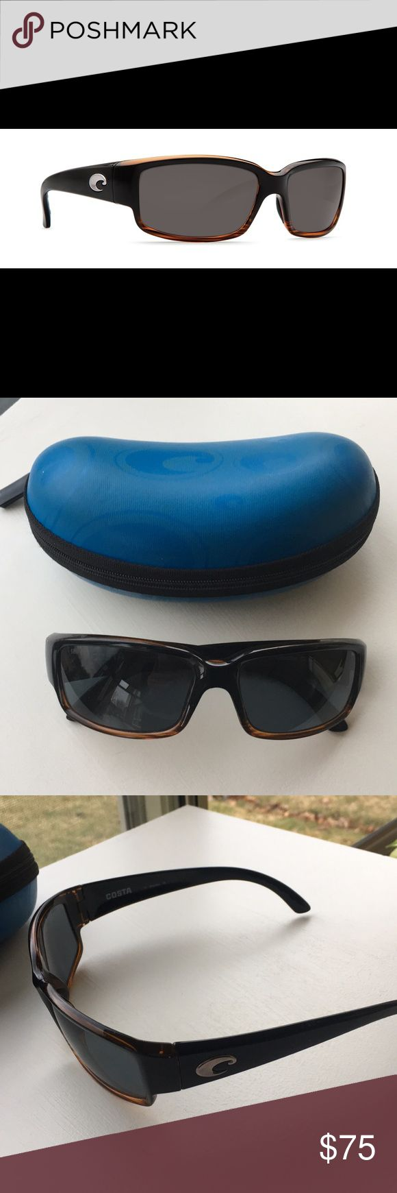 Women's Costa Del Mar Caballito sunglasses Includes case Frame color: coconut fade - some finish peeling above right eye frame (see second to last photo) Lens color: gray (small scratch on left lens (see last photo) polarized plastic lens costa del mar Accessories Sunglasses