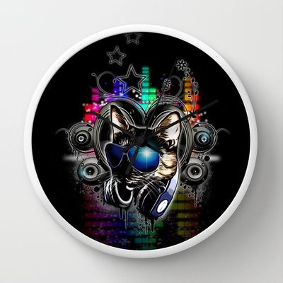 Drop The Bass Wall Clock by Nicklas Gustafsson - $30.00