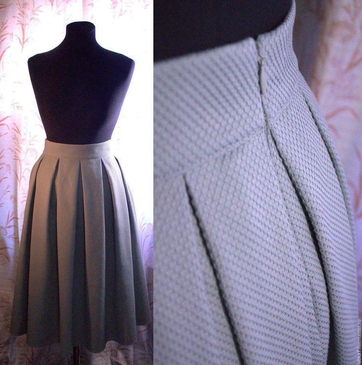Купить Юбка миди с карманами - комбинированный, юбка, юбка миди, юбка с карманами, юбка с бантом