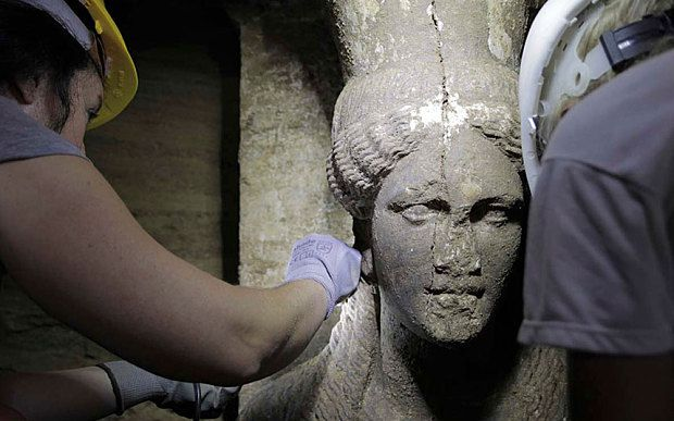 Two-foot-tall statues, known as Caryatids, mark a significant new finding at the Amphipolis site, believed to be the burial site of one of Alexander the Great's relatives or generals: http://www.telegraph.co.uk/news/worldnews/europe/greece/11080463/Marble-female-figurines-unearthed-in-vast-Alexander-the-Great-era-Greek-tomb.html