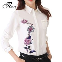 TLZC 2016 Senhora Do Escritório Camisas Teste Padrão de Flor Do Vintage Da Moda Mulheres Blusa Tamanho S-3XL Gola Virada Para Baixo Doce Senhora Camisas Brancas(China (Mainland))