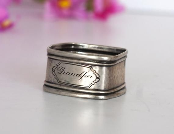 Sterling Silver Napkin Holder: For Grandfather Napkin Ring, Vintage Grandpa Napkin Ring / Serviette, Marked Silver, Gift for Grandfather