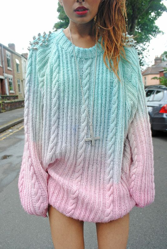 Vtg dip dye knit chunky ombre stud spiked boyfriend oversized jumper - Should be easy enough to DIY with a charity shop jumper.