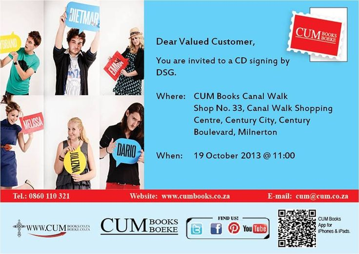 DSG will be at CUM Books Canal Walk on 19 October at 11am.