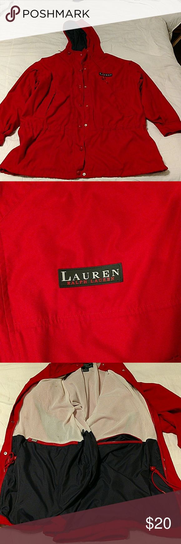 Red wind breaker Lauren by Ralph Lauren red wind breaker with navy and white lining.  Shows some slight signs of wear but nothing major.  Slight discoloration around sleeve openings, a couple spots on inside, and some picking in net lining.  Exterior is in really good condition.  States a size M but it would fit a L also. Lauren Ralph Lauren Jackets & Coats
