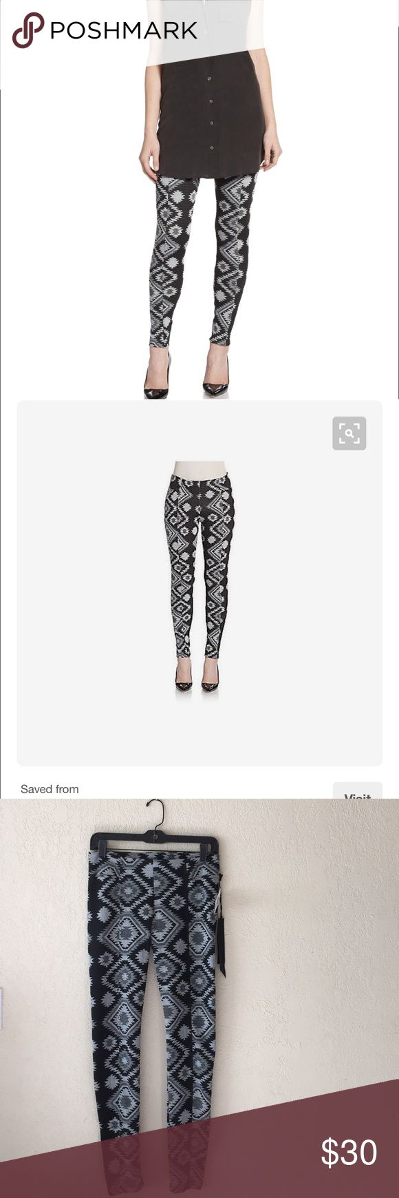 Leggings Jersy leggings with ganado inspired motif elastic waistline asymmetrical seams back button welt pocket inseam about 27 inch ..polyester spandex .brand new👗 silva ganado Pants Leggings
