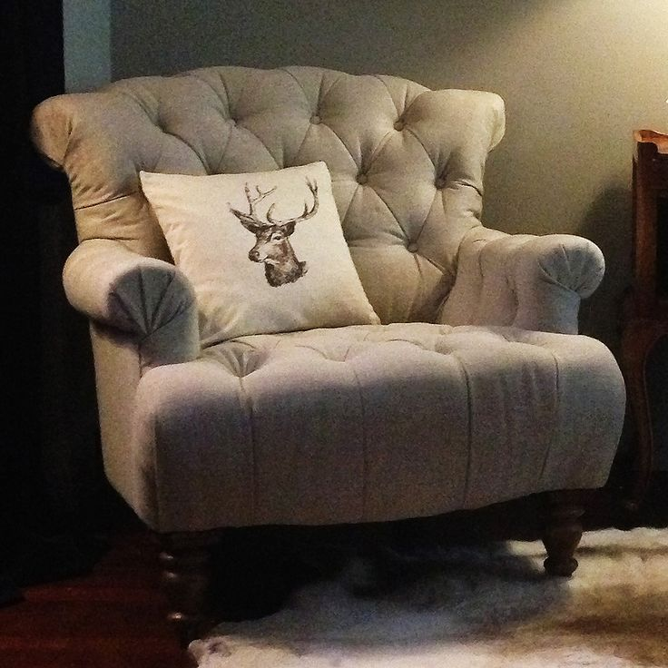 Buttoned Linen Deep Armchair by The French Bedroom Company