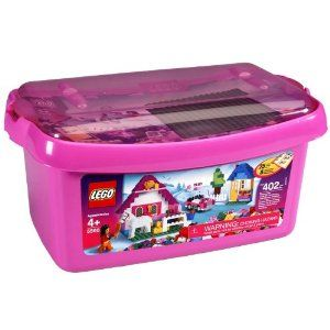 LEGO Pink Brick Box - Large (402 pcs) 5560 (For Ages 4 years & up) by LEGOS LEGOS. $44.00. For Ages 4 years & up. When you're building, think pink. This pink storage case with transparent lid is portable. 402 pieces. When you're building, think pink! This pink storage case with transparent lid is portable and reusable for years of play and imagination! Includes hundreds of great LEGO elements, a minifigure and even a horse. For Ages 4 years & up 402 pieces