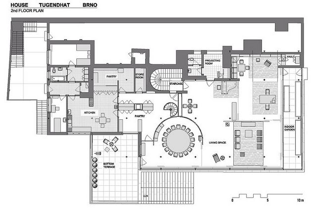1928-30 Floor Plan Villa Tugendhat - Mies' synthesis of the villa rotunda and modernism. Czech Republic.