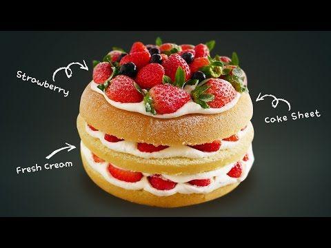 Russian Strawberry Cake Recipe   Dalmiin - YouTube