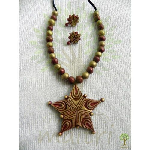 Terracotta Jewellery_The Star Red- Online Shopping for Necklaces by Maitri Crafts - Online Shopping for Necklaces by Maitri Crafts - Online Shopping for Necklaces by Maitri Crafts