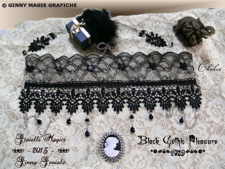 "Choker part of the very chic full set of bijoux and lace named: ""Black Gothic Pleasure"" handmade by Ginny Geniale, in nichel free metal, black lace, silver colour, black stones, cameo and rhinestones. Collarino che fa parte della Parure di bijoux e merletto elegantissima intitolata: ""Black Gothic Pleasure"" realizzata a mano da Ginny Geniale, in metallo anallergico color argento senza nichel, pizzo e macramè nero, con pietre nere, cameo e strass."