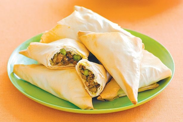 Curry beef triangles