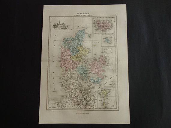 DENMARK old map LARGE hand colored print 1883 by DecorativePrints