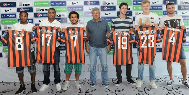 All new signings for 2013 from Left to Right (Fred, Fernando, Wellington Nem, Faycudo Ferreyra, Sarnavskyi (gotta love his Pam Anderson shirt), Volovyk )