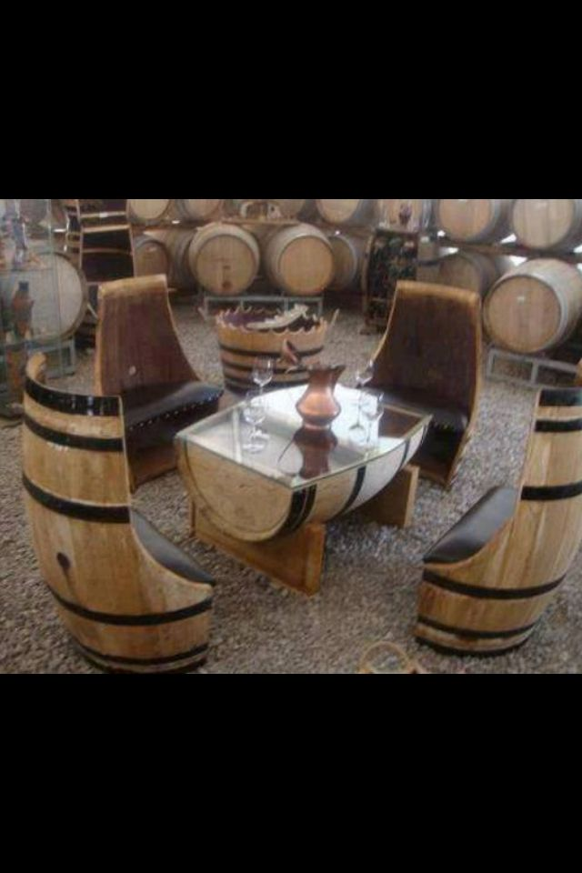 Wine barrel table and chairs. Tel: 01437 710043 www.celtictimber.co.uk