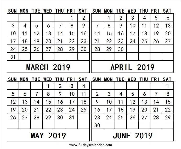 March To June 2019 Notes Calendar June 2019 Calendar Print