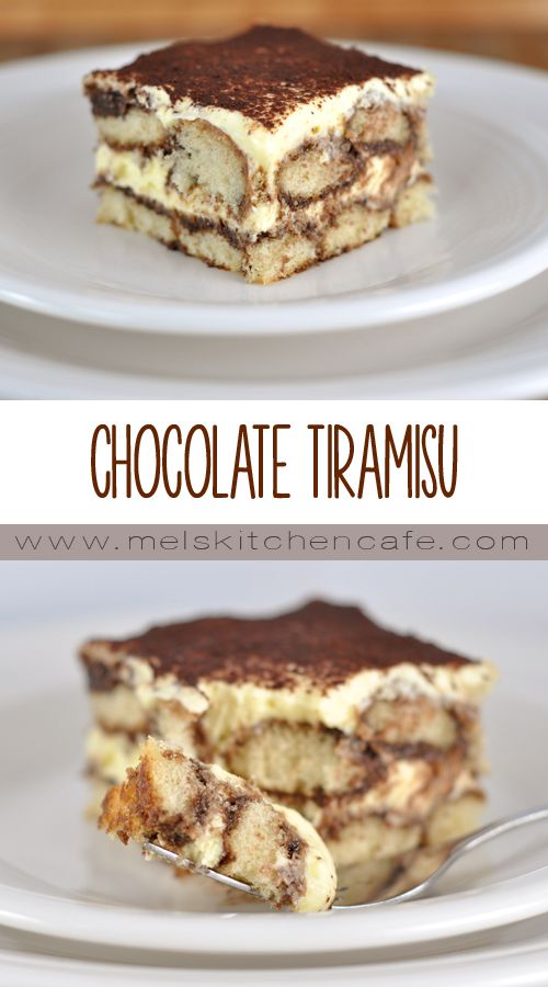 This chocolate tiramisu is elegant and delicious.