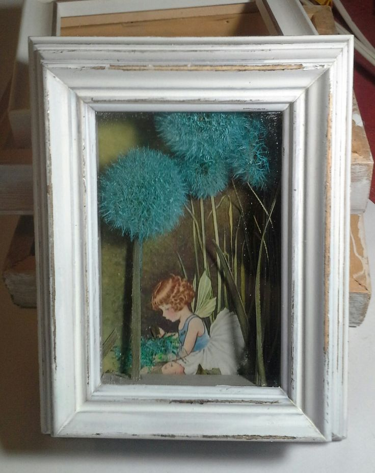 "5"" x 7"" shadow box. Vintage print of a fairy, embellished with hand painted dandelions. A whimsical addition to any girl's room!"