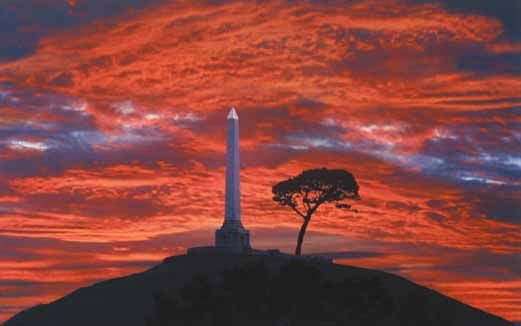 Sunset at One Tree Hill, Auckland, New Zealand.