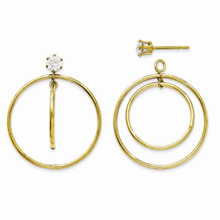 14k Yellow Gold Double Hoop with CZ Earrings Jackets