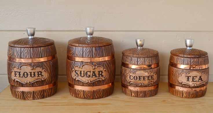 canisters ceramic treasure craft wooden barrel style with