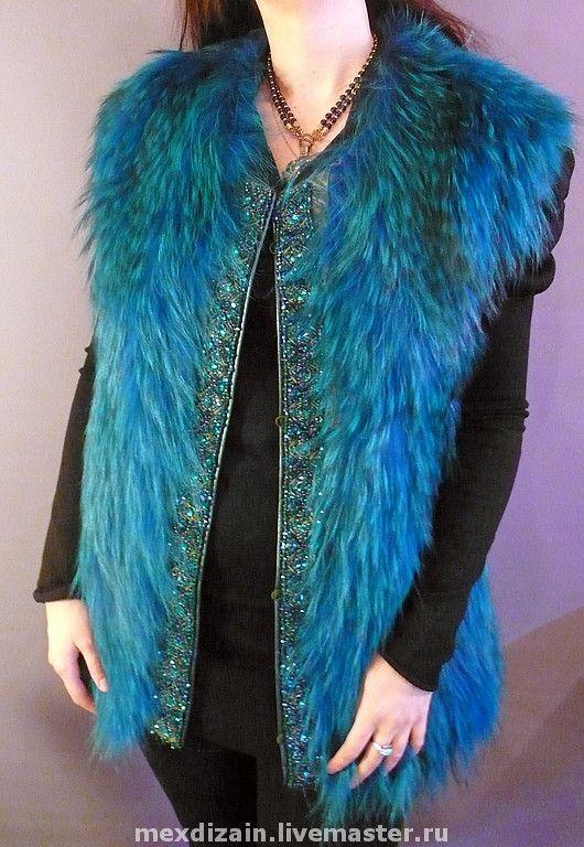 Купить Жилет Изумруд - меховой жилет, мех, натуральный мех, жилет, кристаллы сваровски