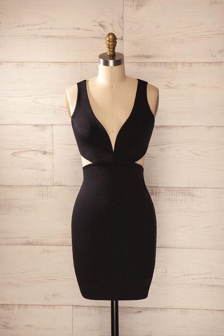 Robe noire ajustée découpes décolleté plongeant dos nageur ouvert - Black fitted cut-outs plunging neckline racer open back dress