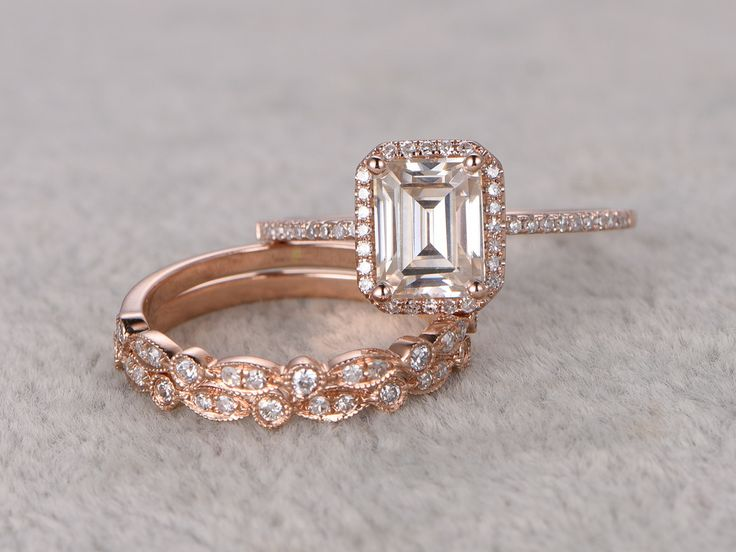 3pcs Emerald Cut Moissanite Engagement Rings Diamond