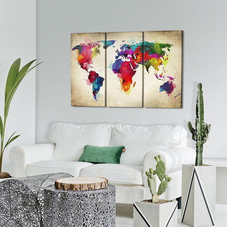 Impression sur toile 120x80 cm grand format xxl 3 couleurs au choix 3 pieces image sur toile images photo tableau motif moderne