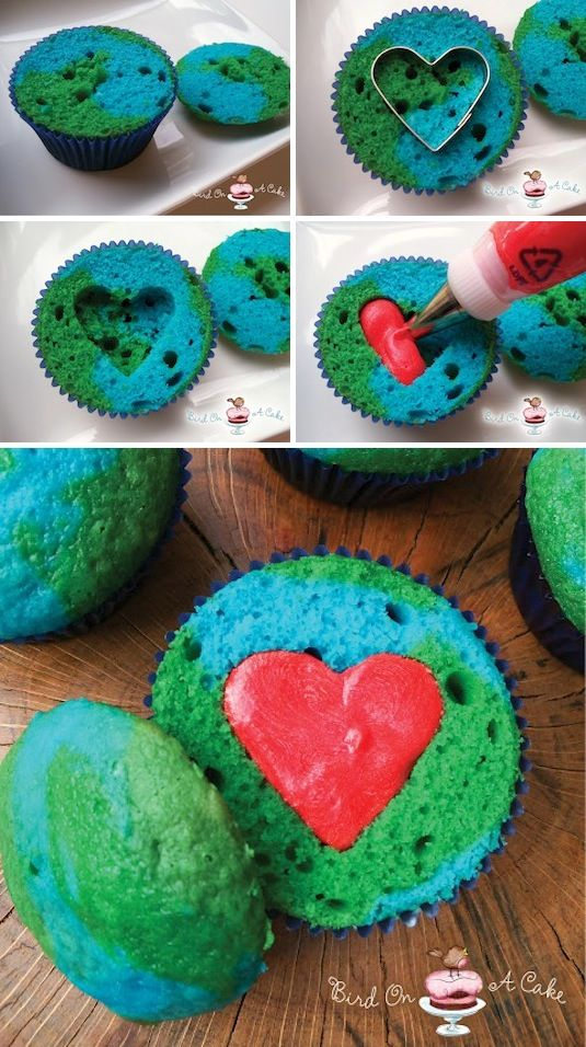Earth Day Cupcakes    Here's a completely different concept for the surprise-inside heart; use red frosting instead of twice baked heart shaped mini cakes.