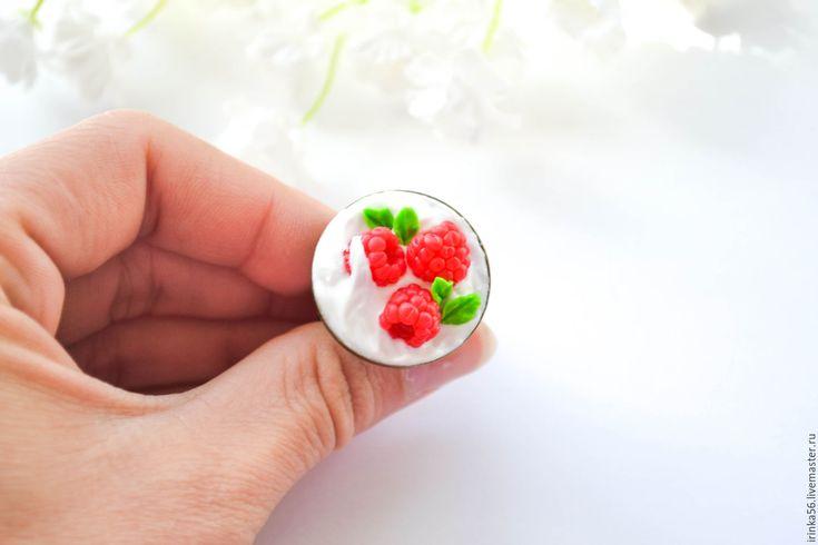 """Купить Кольцо""""Малина в сливках"""" - ярко-красный, малина, Малинка, сливки, малина в сливках, ягодное украшение"""