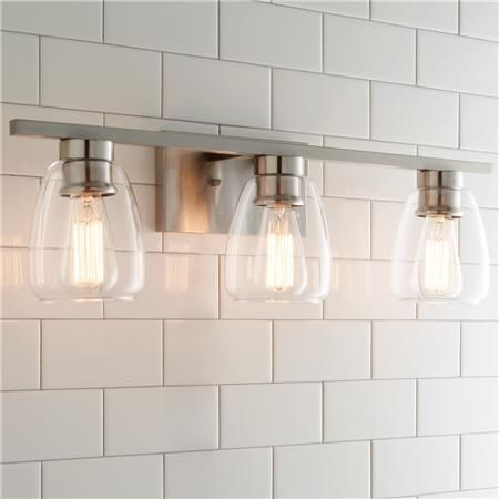 $120 Sleek Contemporary Bath Light - 3 Light; can be mounted up or down