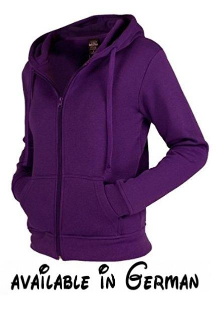 Urban Classics Damen Zip Kapuzenpullover , Größe:M;Farbe:purple. Normal geschnittener Kapuzenpullover mit Taschen von Urban Classics aus Baumwollmischung. #Apparel #SPORTING_GOODS