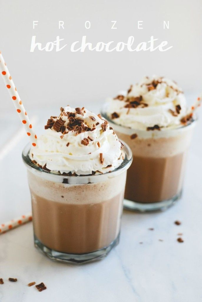 Frozen Hot Chocolate // Simply Happenstance: deliciously rich, creamy, cold & frothy! This will quickly become a family fave! #fall #frozenhotchocolate #treats
