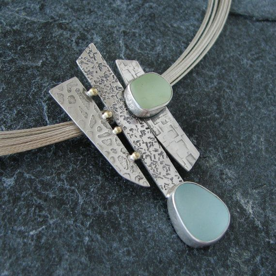 Sea Glass Necklace Pendant in Aqua and Seafoam Beach Glass Jewelry