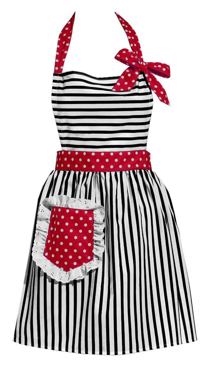 Black Stripes with Red Vintage Style Apron by MDesignBoutique