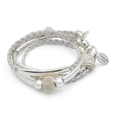 Mini Maddie braided wrap in silverplate in metallic pearl leather, comes as shown