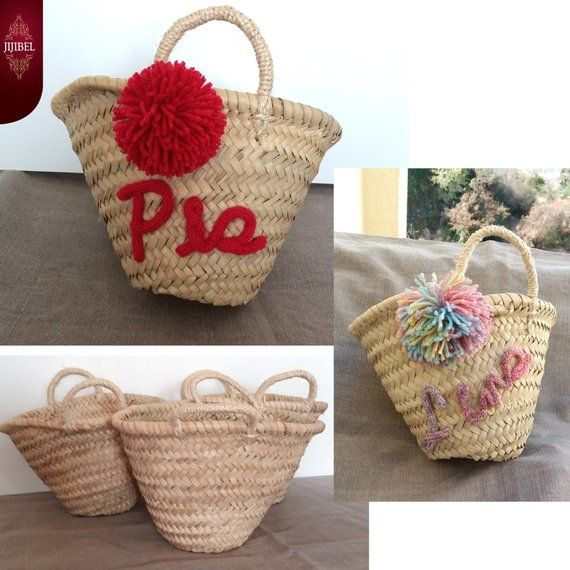 Mini basket with POMPONS to personalize